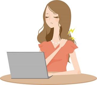 パソコン作業で肩が凝る女性のイラスト