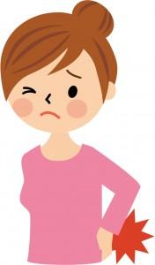 坐骨神経痛に悩む女性のイラスト