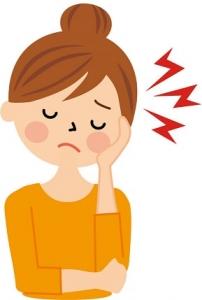 顎の痛みに悩む女性のイラスト