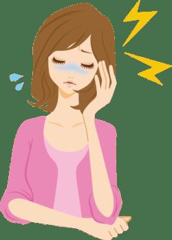 頭痛がつらい女性のイラスト